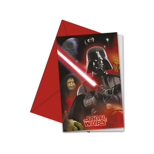 Star Wars invitaciones con sobre - Pack 6 unid.