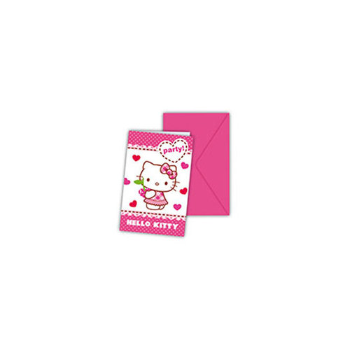 Hello Kitty invitaciones - Pack 6 unid.
